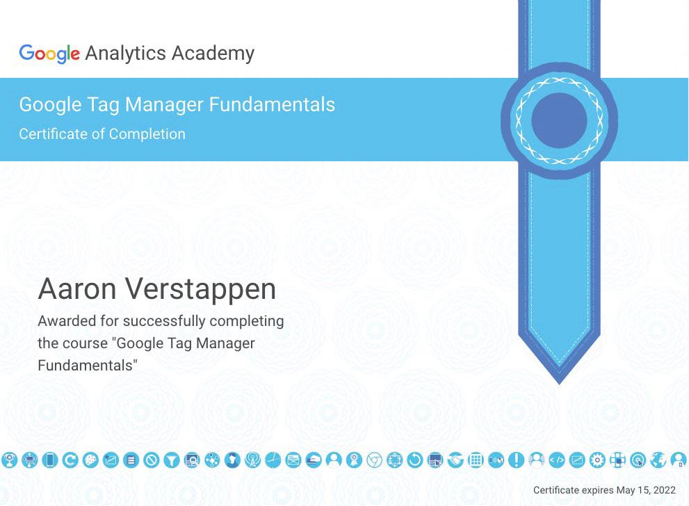 Google Tag Manager certificaat Aaron Verstappen